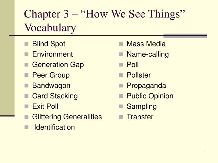 chapter 3 how we see things vocabulary n.