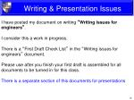 writing presentation issues