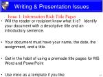 writing presentation issues1