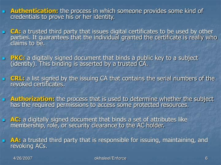 Authentication:
