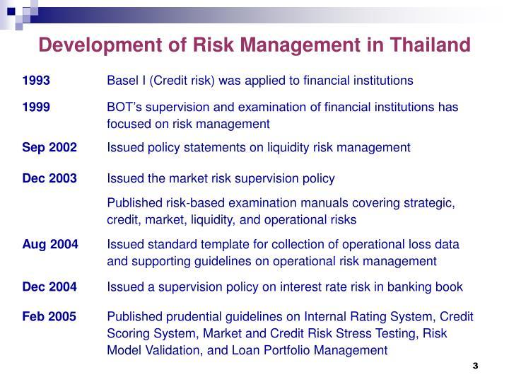 development of risk management in thailand