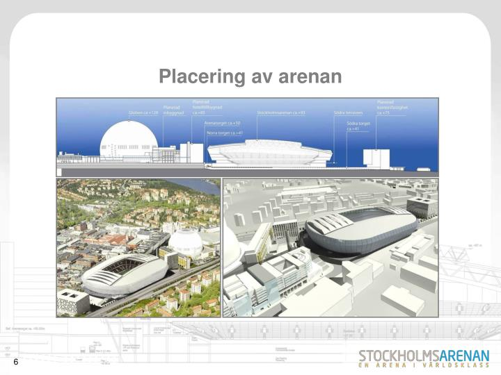 Placering av arenan