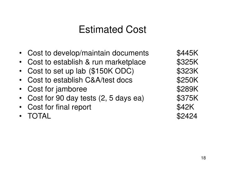 Estimated Cost