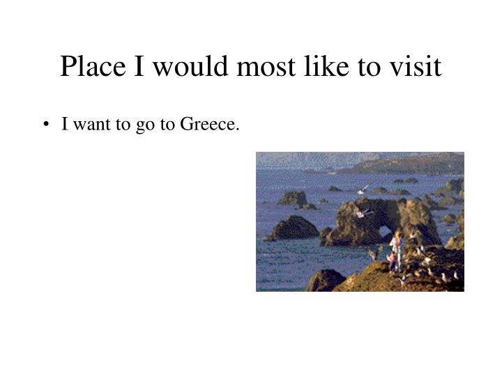 Place I would most like to visit