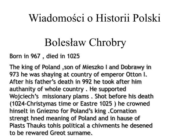 Wiadomości o Historii Polski