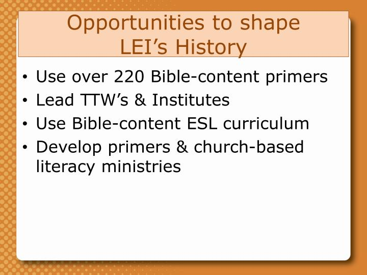 Opportunities to shape