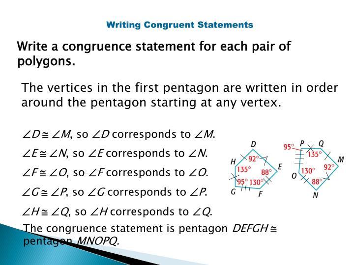 Writing Congruent Statements
