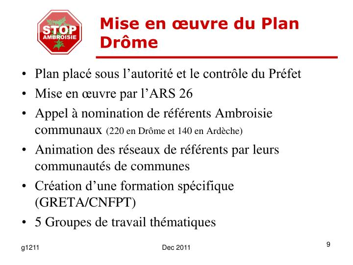 Mise en œuvre du Plan Drôme
