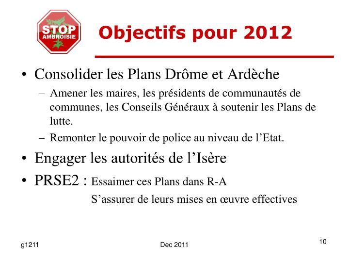Objectifs pour 2012