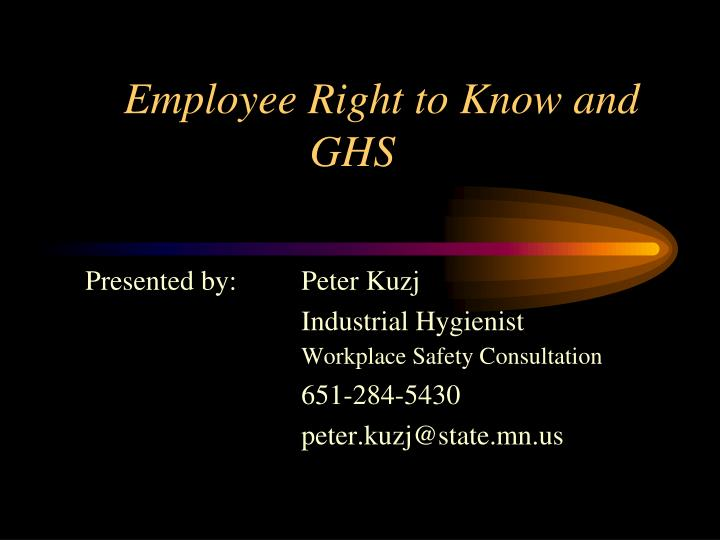 employee right to know and ghs n.