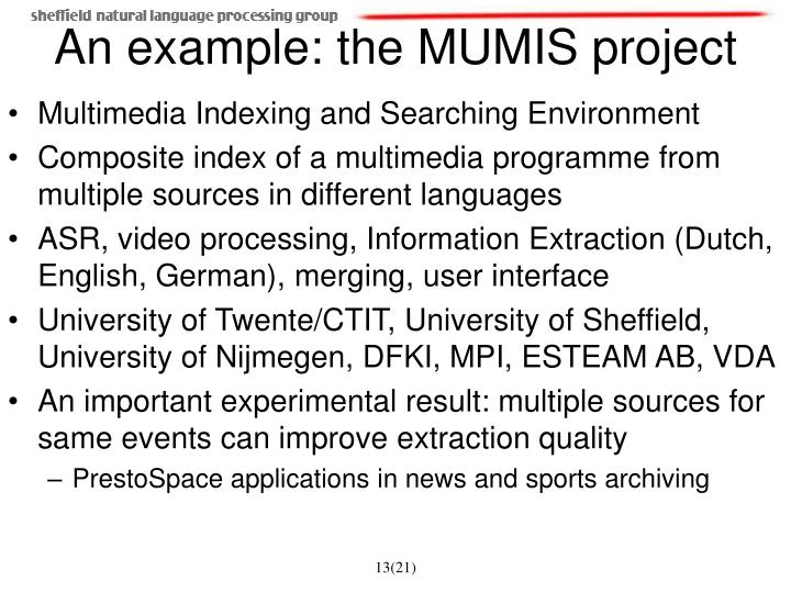 Multimedia Indexing and Searching Environment
