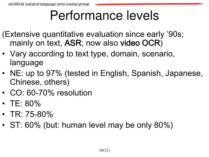 (Extensive quantitative evaluation since early '90s; mainly on text,