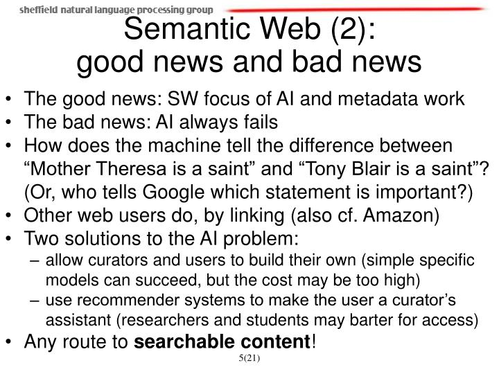 The good news: SW focus of AI and metadata work