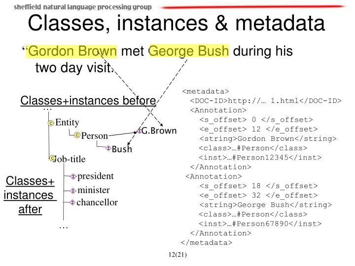 Classes, instances & metadata