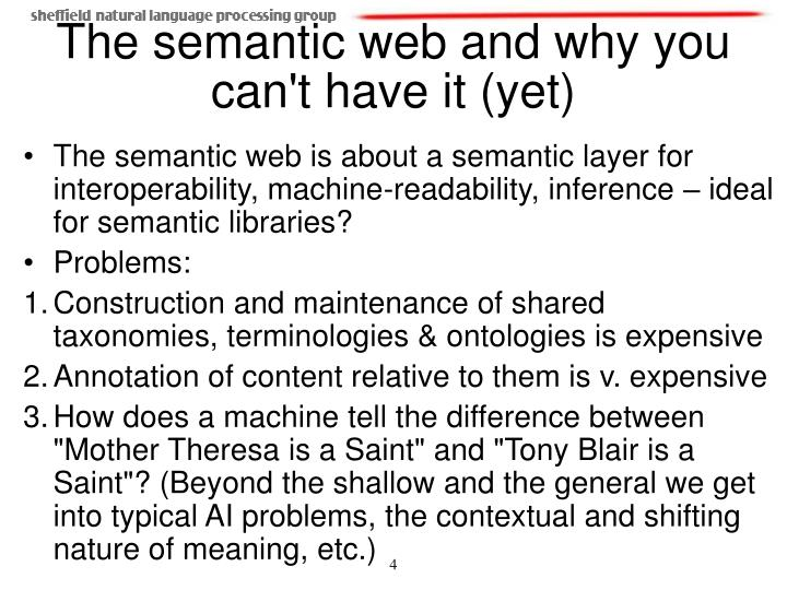 The semantic web is about a semantic layer for interoperability, machine-readability, inference – ideal for semantic libraries?