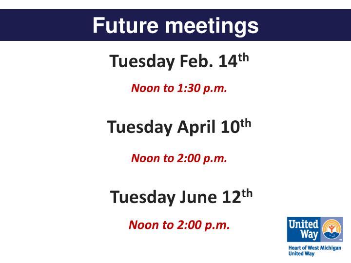Future meetings