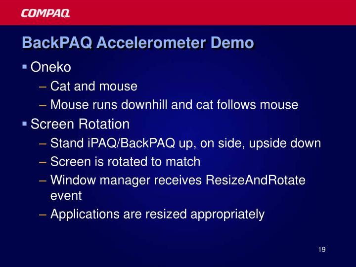 BackPAQ Accelerometer Demo