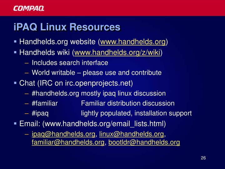 iPAQ Linux Resources