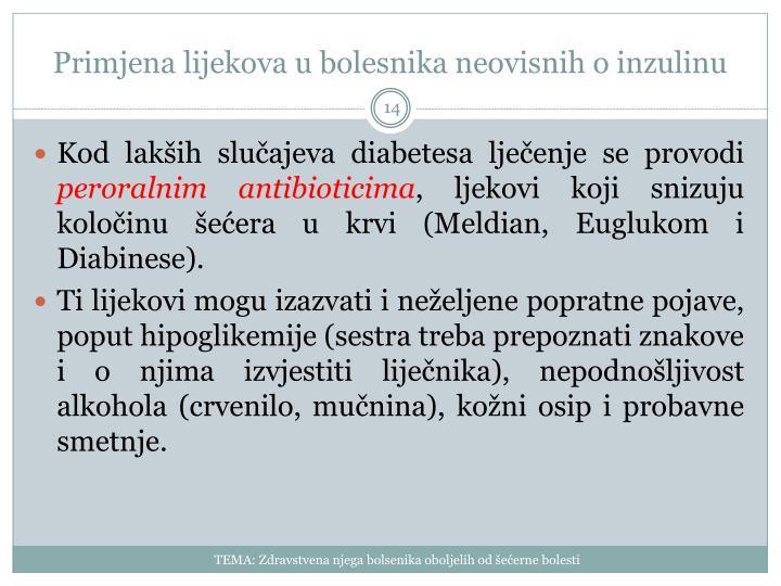 Primjena lijekova u bolesnika neovisnih o inzulinu