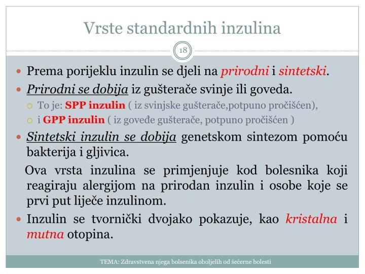 Vrste standardnih inzulina