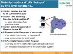 mobility inside a wlan hotspot by link layer functions