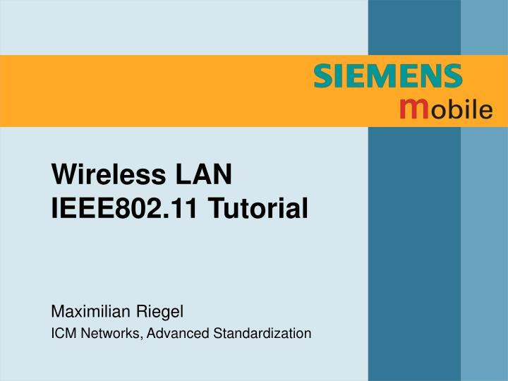 wireless lan ieee802 11 tutorial