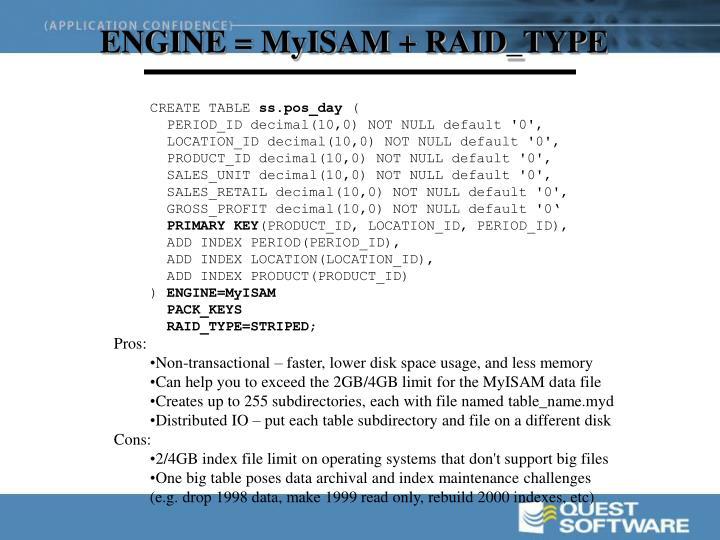 ENGINE = MyISAM + RAID_TYPE