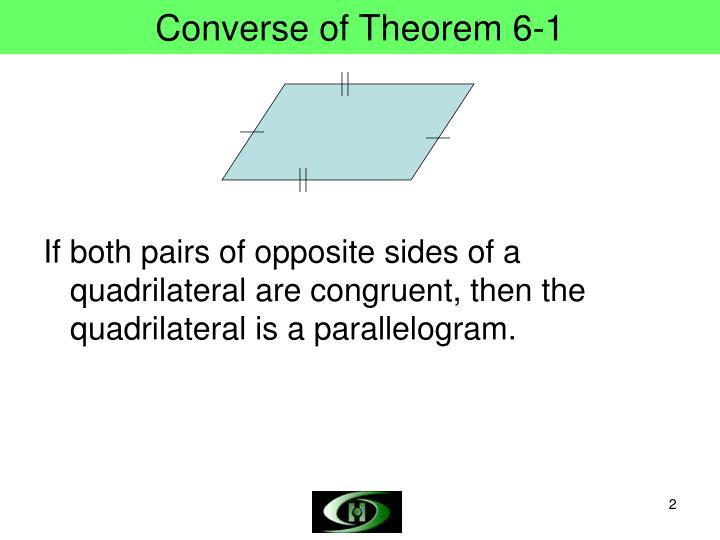Converse of theorem 6 1