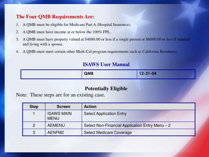 The Four QMB Requirements Are: