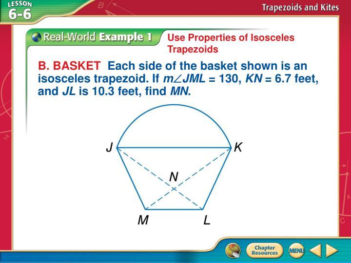 Use Properties of Isosceles Trapezoids