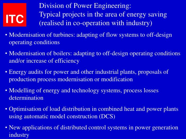 Division of Power Engineering: