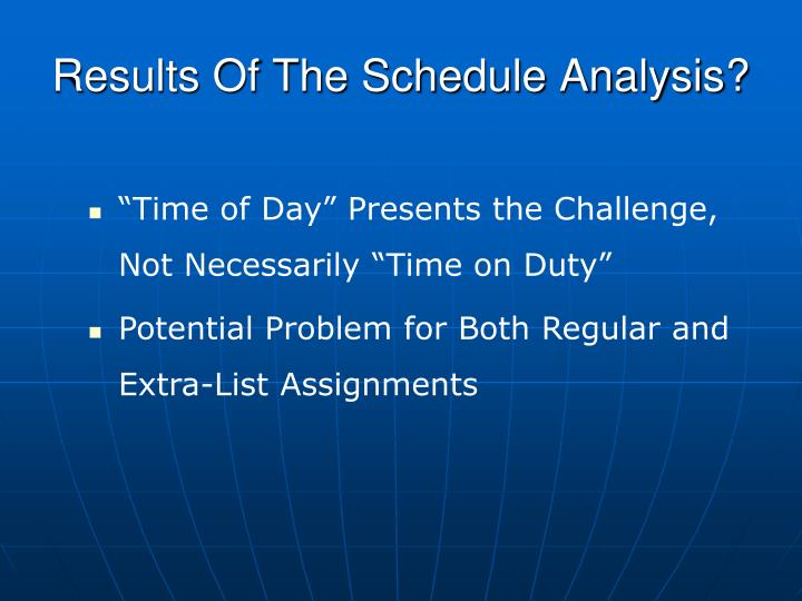 Results Of The Schedule Analysis?