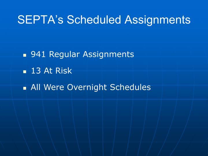 SEPTA's Scheduled Assignments
