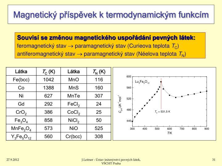 Magnetický příspěvek k termodynamickým funkcím