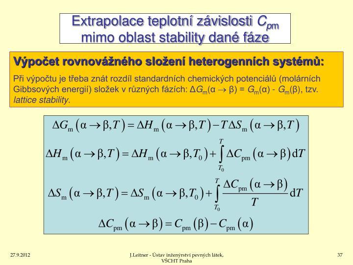 Extrapolace teplotní závislosti