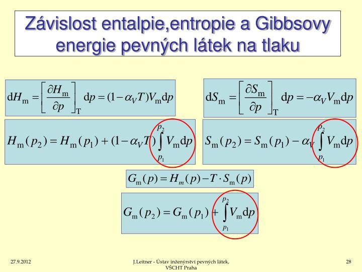 Závislost entalpie,entropie a Gibbsovy energie pevných látek na tlaku