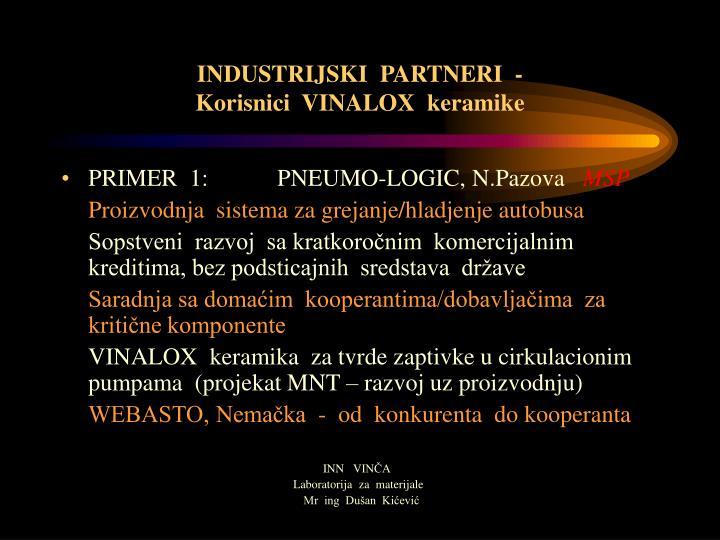 INDUSTRIJSKI  PARTNERI  -