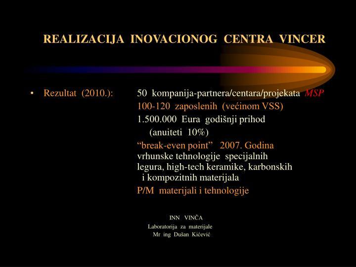 REALIZACIJA  INOVACIONOG  CENTRA  VINCER