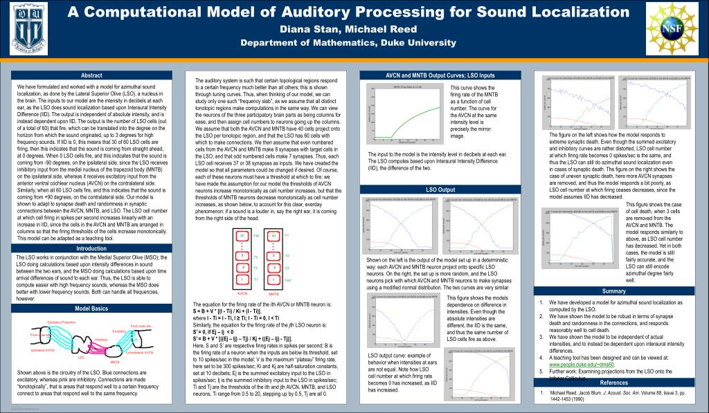 PPT - A Computational Model of Auditory Processing for Sound