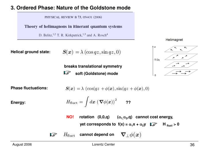 3. Ordered Phase: Nature of the Goldstone mode
