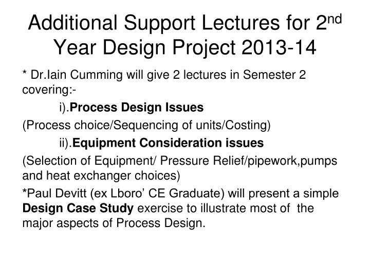 Additional Support Lectures for 2