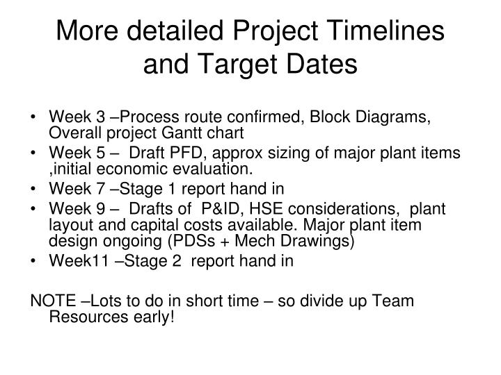 More detailed Project Timelines and Target Dates