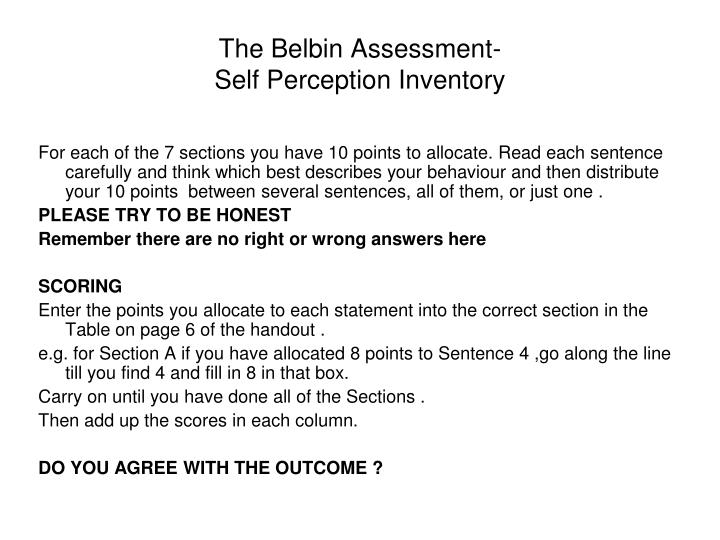 The Belbin Assessment-