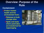 overview purpose of the rule1