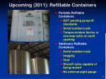 upcoming 2011 refillable containers
