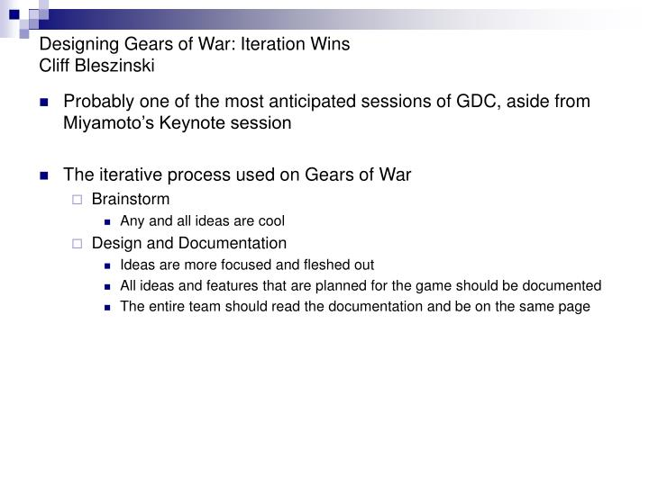 Designing Gears of War: Iteration Wins