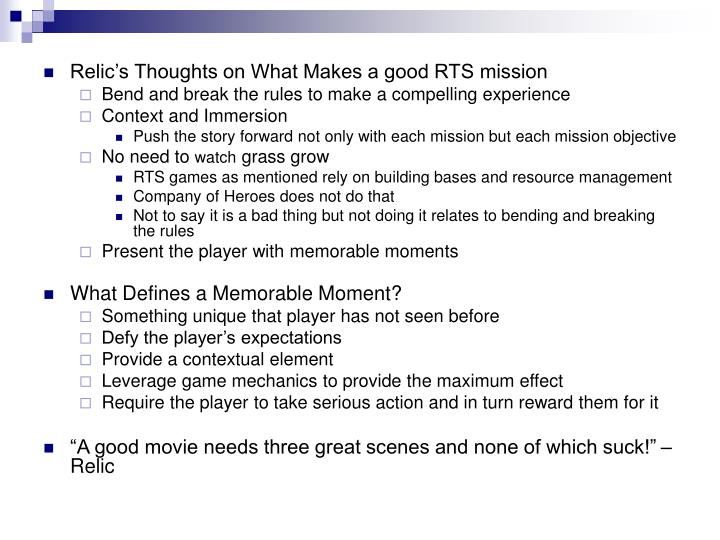 Relic's Thoughts on What Makes a good RTS mission