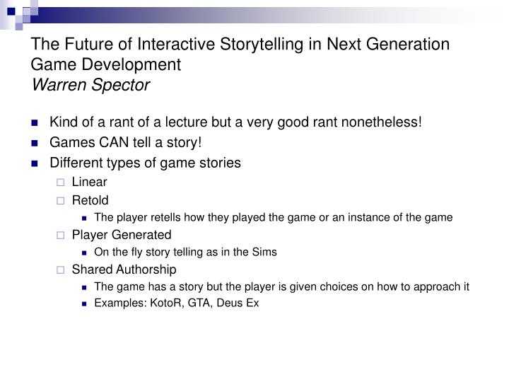 The Future of Interactive Storytelling in Next Generation Game Development