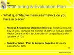 monitoring evaluation plan