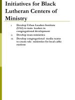 initiatives for black lutheran centers of ministry